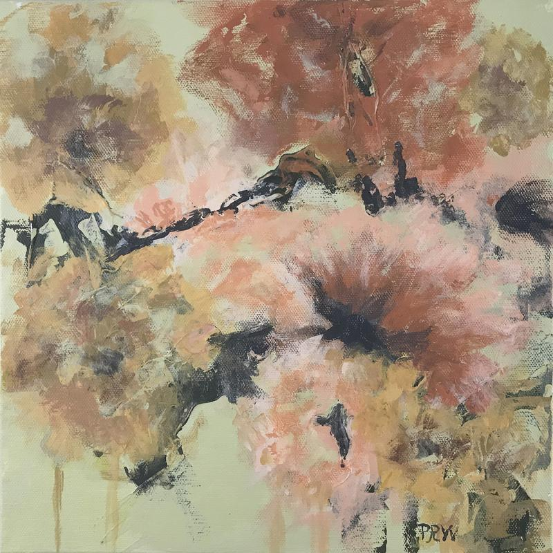 A painting of abstract flowers on pale-green ground in pale and deep golds and rusts and black.