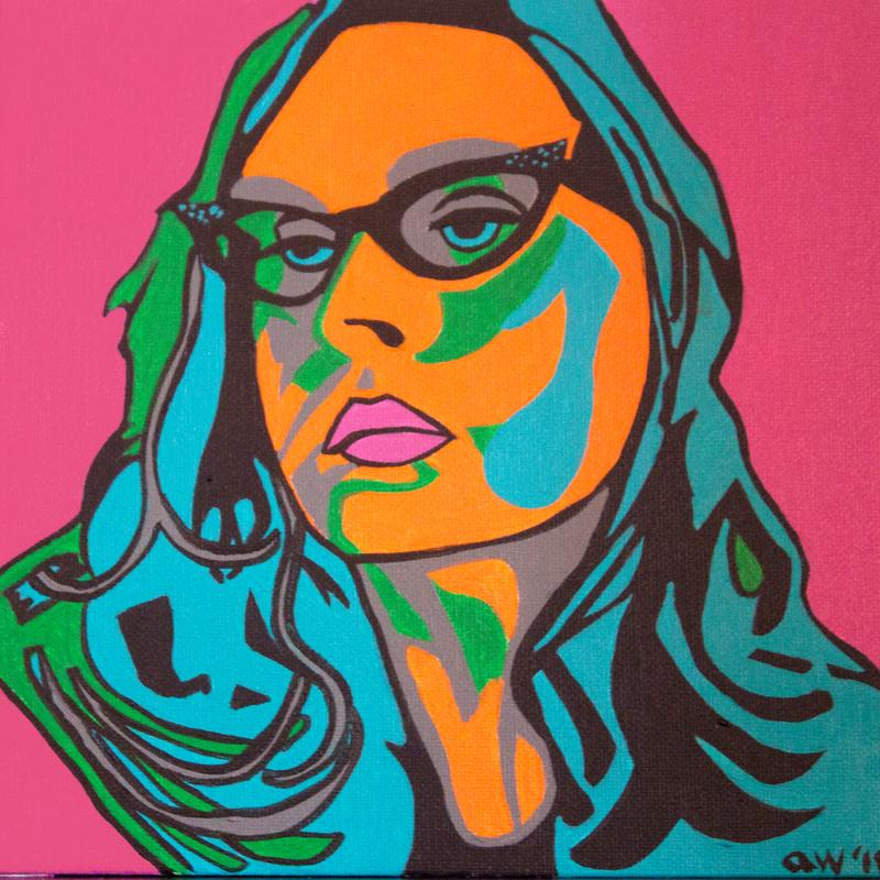 A self-portrait of the artist, female with cat's-eye glasses and long hair, in a Pop Art style with a bright pink background and painted in shades of black, grey, orange, turquoise, and bright green.