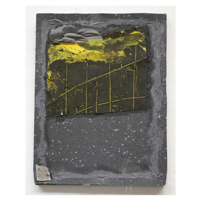 A small rectangular abstract painting with a dark grey and white speckled rubber surface. There's a piece of canvas painted yellow and black with a scratched-in grid pattern attached at top half of the painting. At the top of the piece of canvas are three lumps of light grey plaster. A small fragment of light grey flooring from the artist's studio is attached to the bottom left corner of the painting. The perimeter of the painting is marked with silver and black paint. There are several thin, short plastic hairs jutting out from the top, left, and bottom sides of the painting.