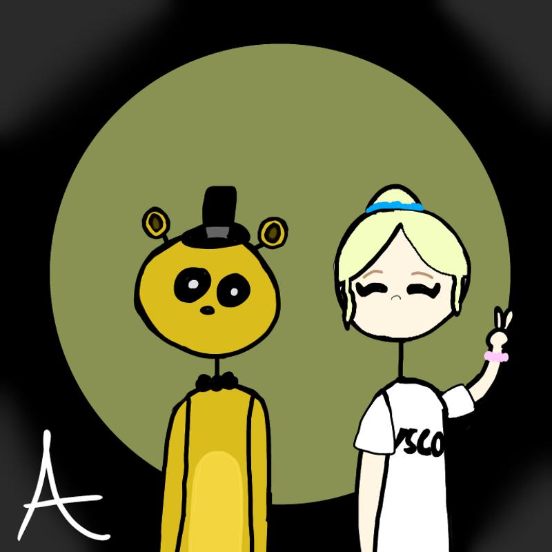 A yellow bear with a top hat and a bow tie and a blonde girl with her hair up with a scrunchie and a scrunchie on her wrist with a black and yellow background.