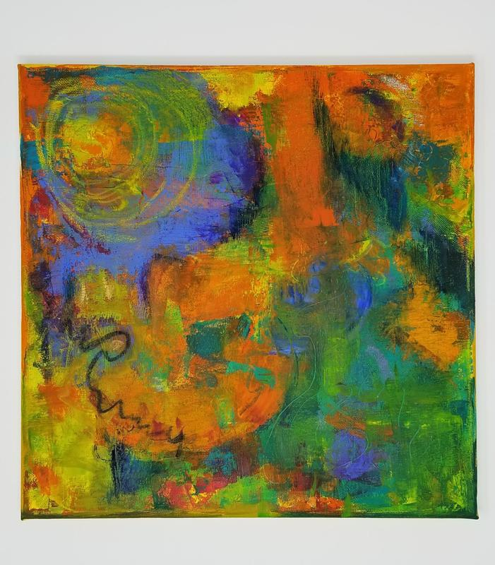 Abstract filled with bold colors - primarily orange, blue, green  - in flowing circles and organic forms.
