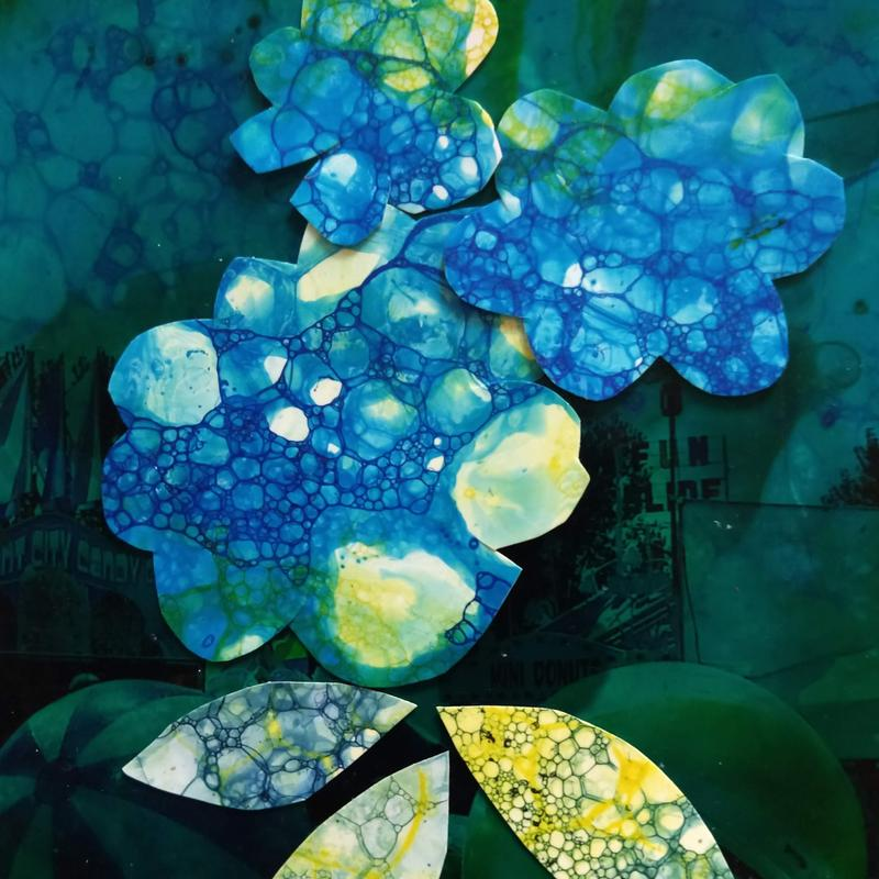 Collaged Blue hydrangeas made from bubble art on photo paper .