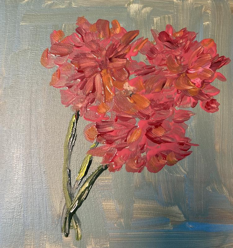 A painting of three reddish/pink geraniums on a gray/green background.