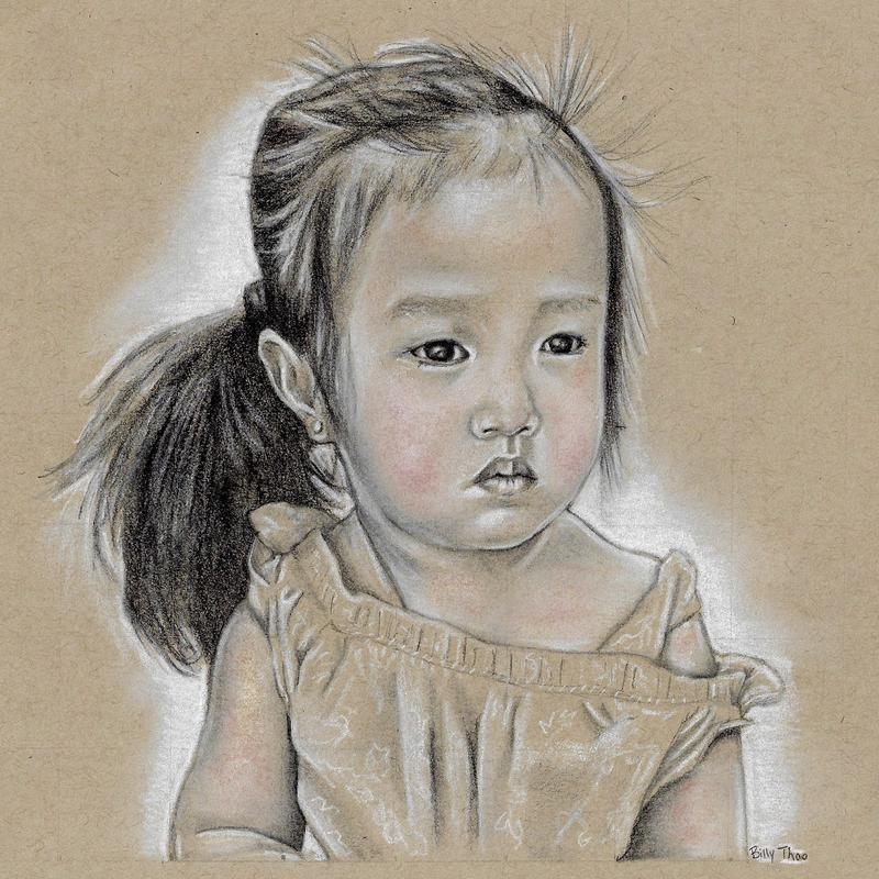 A black and white portrait of my niece on a toned tan paper. Her hair is bold black and her face is pure white with gray value on her face, arm, and no sleeve shirt; and a subtle addition of tan and pink color on her skin.