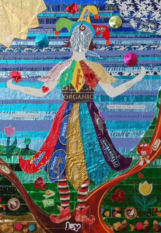 """A female juggling hearts and balls, the face a mirror, multi-colored, and all made with chocolate wrappers.  Quotes: """"feel free to be yourself;"""" """"live your dreams."""""""