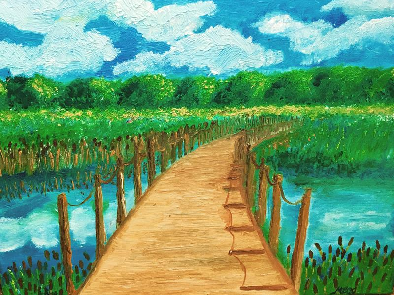 An oil painting of the floating wooden bridge that crosses Wood Lake Nature Center in Richfield, MN. The greens and golds reflected in the water capture the peace and beauty of late Summer in Minnesota.