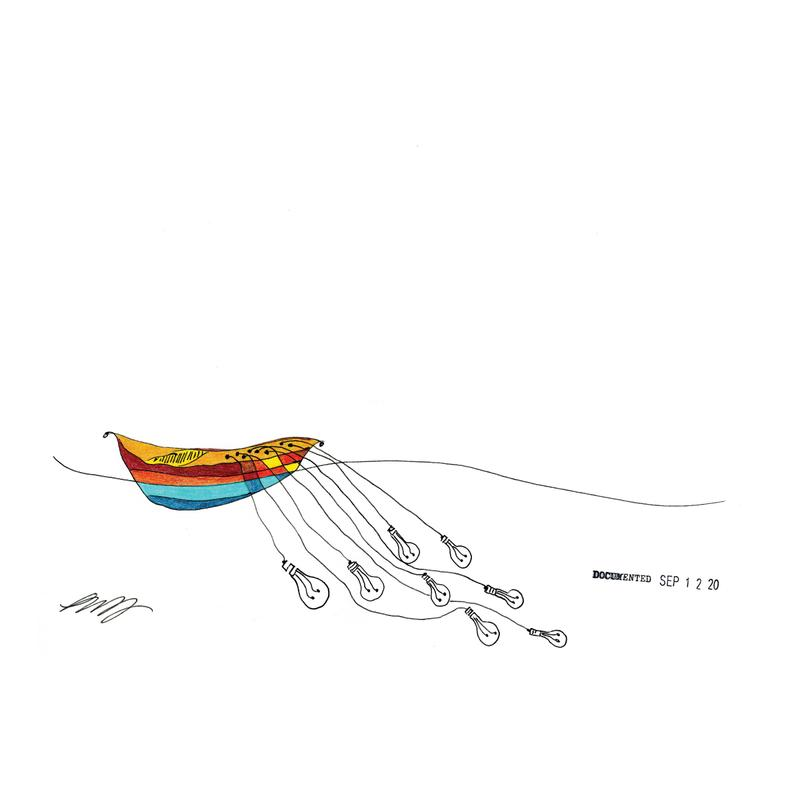 A simple line drawing of a rowboat on the water. No passengers or oars, only an empty seat. there is a trail of lightbulbs underwater showing motion by their placement as being pulled behind the boat attached by cords from the inside of the boat to sockets on the bulbs. There are eight of them trailing behind underwater at various lengths of about 12 to 18 feet back and 5 to 8 feet deep. Only the boat has color. The slats of the boat above water and the interior of the boat are colored with spot colors of brown and ochre. Below the water line, the slats of the boat are ultra marine blue and teal. The boat is placed to the left of the page. Although the lightbulbs underwater suggest motion, the boat itself is quite still. The date of Sept 12, 20 is stamped on with a rubber stamp under the water to the right, preceded by the word documented. It is signed on the lower left.
