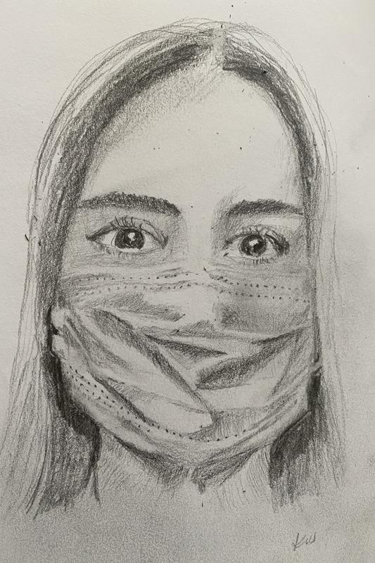Drawing of a girl, a hospital mask covering her mouth and nose, eyes bright and engaged.