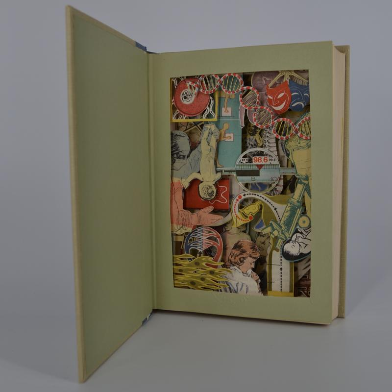 """This carved book sculpture, """"biblio-excavation"""", is created by removing all the excess text leaving only selected imagery. Images are backed with acid free cardstock to make them more ridged. The text block is sealed shut so only the cover opens. This creates both an easy way to display the sculpture as well as a simple storage solution since the work can be shut and housed with the rest of your readable library."""