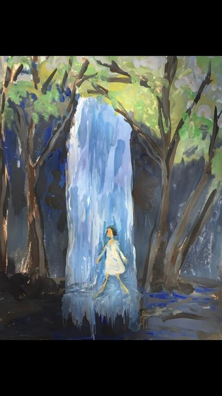 A painting of a young girl walking under a waterfall of surrounded by trees.  Blues and black and greens and white.