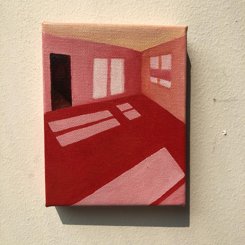 A painting of an empty pink room with light filtering in through the windows offset by a crimson closet.
