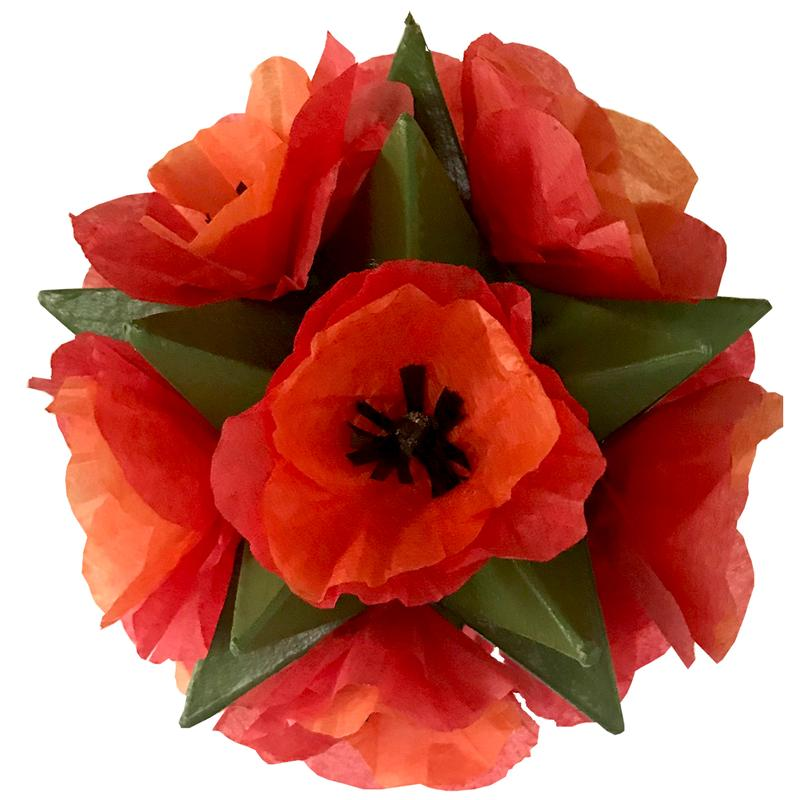 A 3-dimensional star surrounded by red tissue paper poppies.