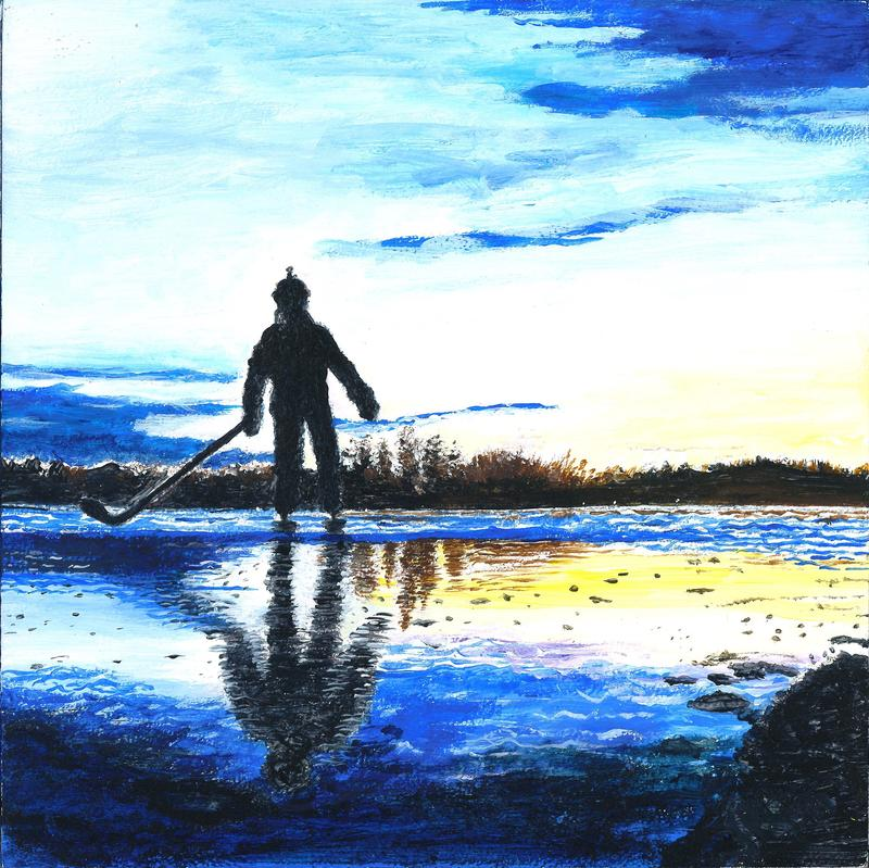 A painting of my grandson, Gaven, making the most of the hockey season, taking to the ice on Crystal Lake.