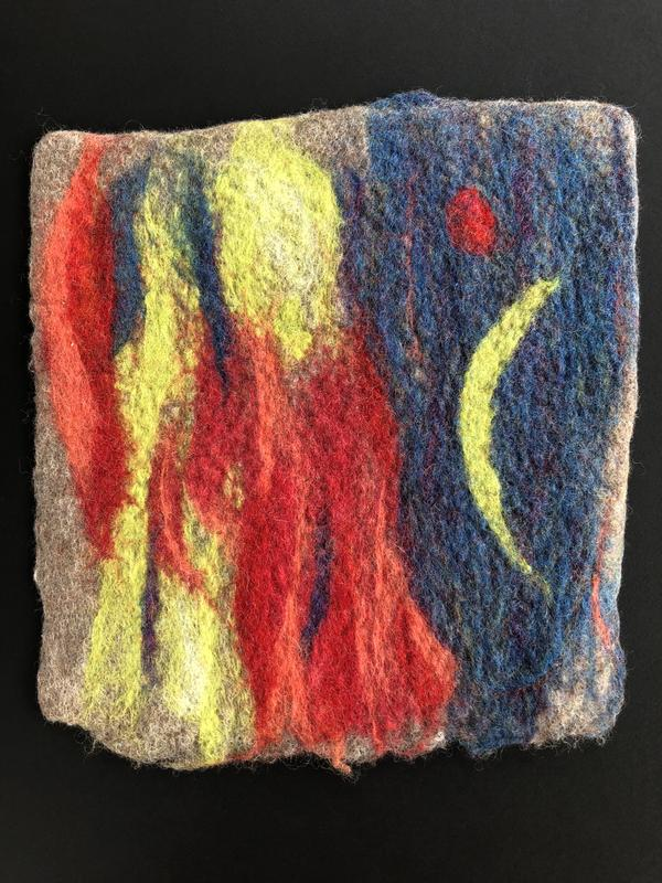 Wool fleece has been needle felted to create a colorful and softly textured image.  The scene shows a red full moon and a yellow-green crescent moon as ethereal figures begin a journey.  The night sky is composed of blended blues and purples.  One of the figures is robed in vivid reds and corals.
