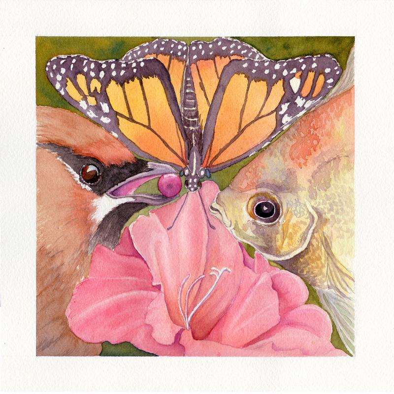 The four main subjects of the painting, a Monarch butterfly, a fish, a flower and a cedar waxwing each occupy about a quarter of the design, coming together and supporting each other at the center.