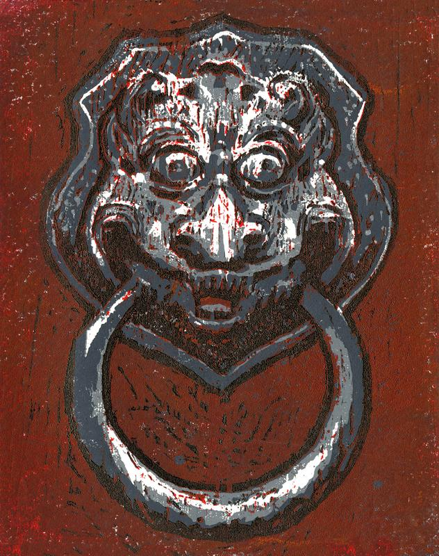 A brightly contrasting image of a lionhead door knocker in grayscale with a bright red background.