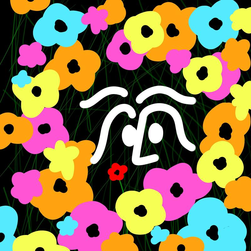 A simplistic cartoon face in the center of large, vibrant flowers on a black background scattered with thin green lines. A single red flower is shown near to the face.