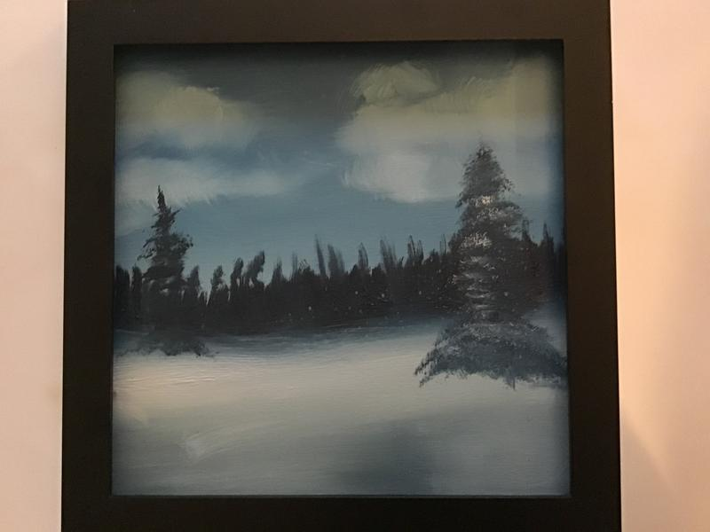 Winter Bliss: A winter scene painted in shades of blue, green and white depicting a distant pine forest with expanse of snow in the foreground and a blue sky with scattered clouds.