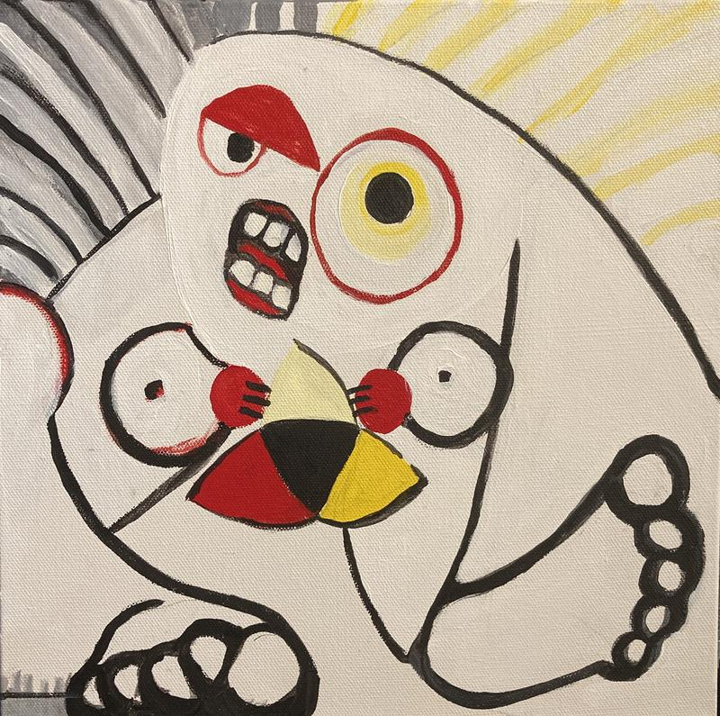 This painting is based on the ancient Celtic church door guardians that portray the prehistory carvings of the cranky Earth mother called the Sheila-na-gig. This stylized Sheila is a black, red and yellow line on white painted canvas depicted with basic circles, triangles, nashing teeth, and huge feet.
