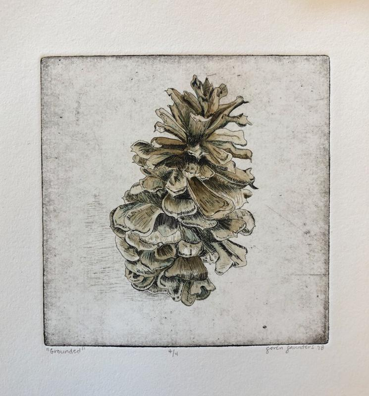 A print of a pinecone. The drawing of the pinecone was etched into copper before it was printed. Brown and blue gouache was then used to fill in the pinecone.