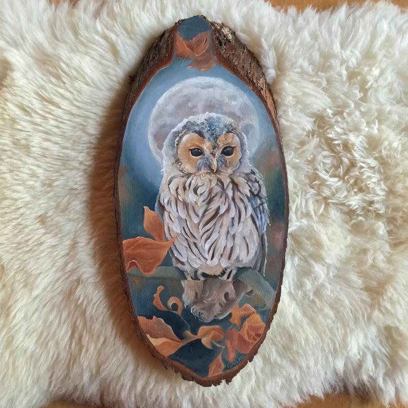 An oil painting of a little tawny owl under a full, harvest moon in fall.