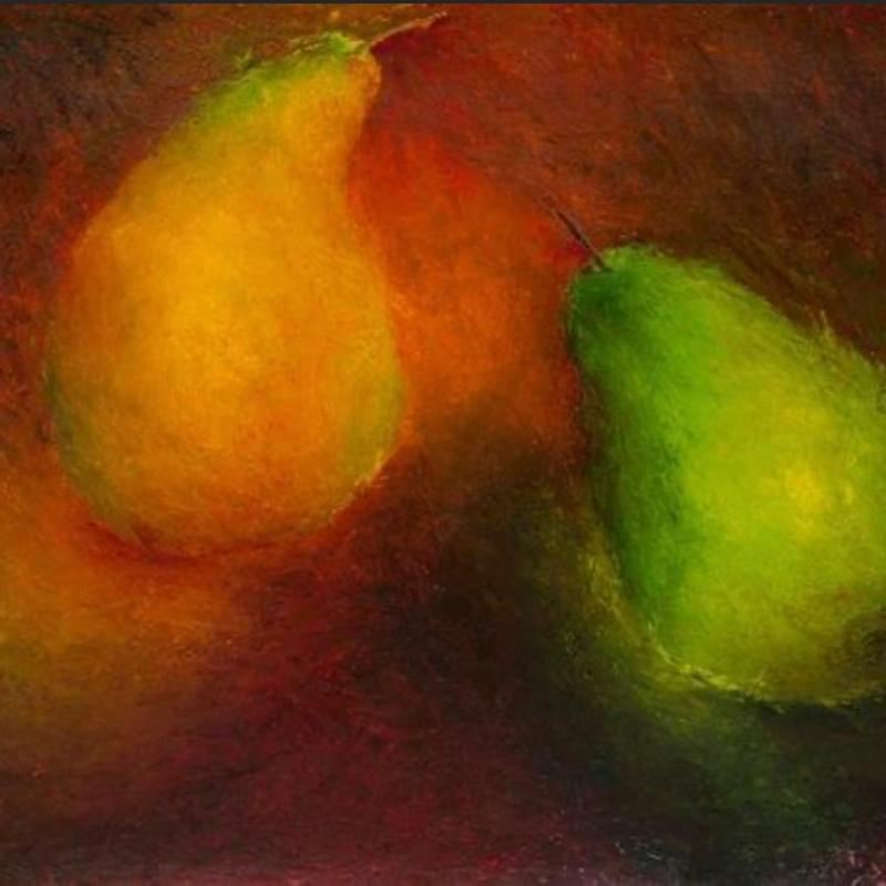 A vibrant oil painting of two pears. Created using oil paints and a palette knife for texture.