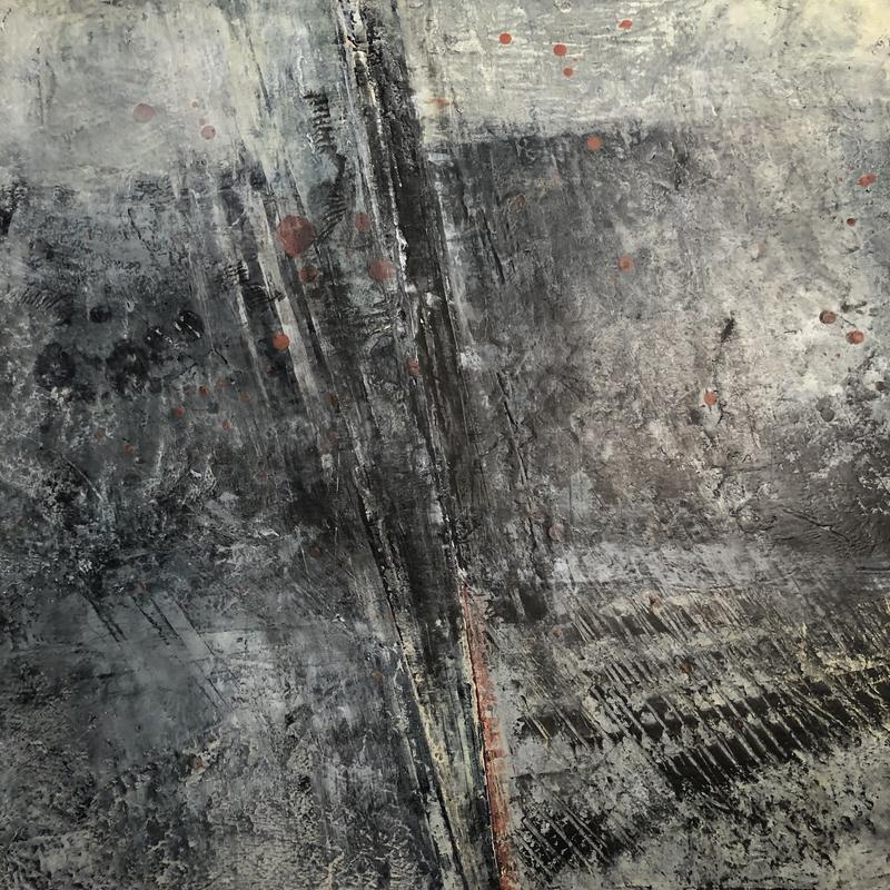 Grey / black abstract highly textured painting, with black and muted, greyed colors in background, which has a subtle horizontal orientation. It is broken or divided by diagonal lines breaking into the space, angled left, from the top and the bottom.