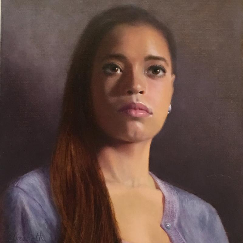 A painting of a young woman with a pearl earring, and brown eyes and hair, wearing a lavender sweater.
