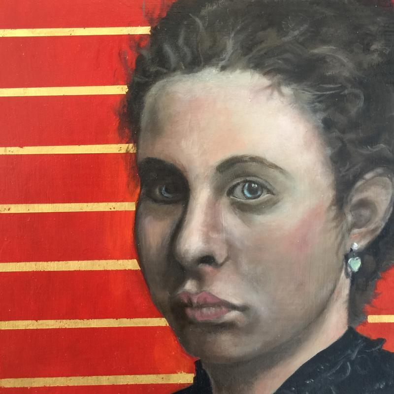 Portrait of a young woman who is from modern times, but carries a Renaissance look to her. The background painted with a rich Napthol Red, enhanced with horizontal lines of gold leaf that serve as a stark contrast to set off the three-quarter view portrait. The thin layers of paint over a grisaille underpainting create realism to the features of the face and the captivating blue eyes draw the viewer in for a closer look; wondering what the woman is seeing, feeling, and thinking.