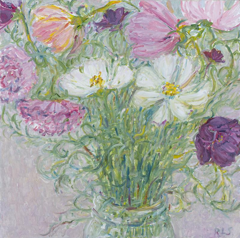 """painting of a small, wild bouquet of cosmos flowers in pinks, whites and purples, with soft grey green foliage"""