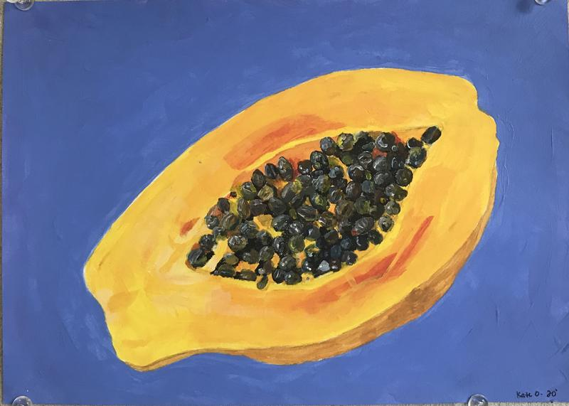 A painting of a bright yellowish orange papaya against a periwinkle background.