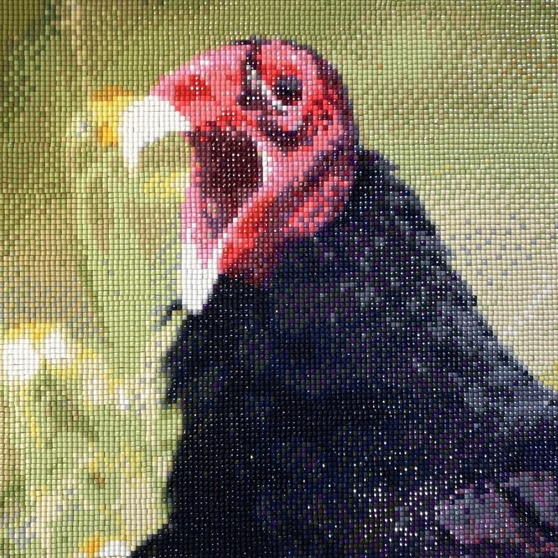 Profile image of a turkey vulture's head with its mouth wide open with a pixelated or small cube design.