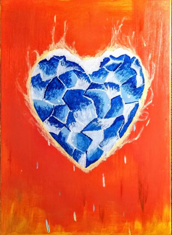 A painting of a broken heart made of ice, cracking and melting, in a bright yellow-orange background with yellow flames underneath