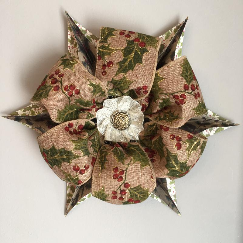 Star art created with three heartwarmingly themed holly & berry designed materials.