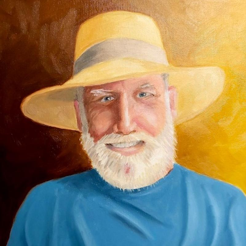 Painting of a man wearing a straw hat and a blue shirt against a yellow-brown background.