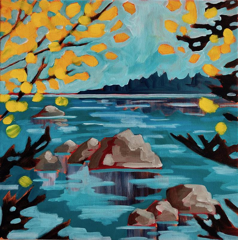 A painting of a body of water that has several large outcrops of rocks breaking the surface, the viewer is looking through bursts of bright yellow leaves and evergreen boughs out to a treelined jut of land out in the distance. The day is bright yet the sky has some energy in it, which suggests a brisk breeze on a fall day.