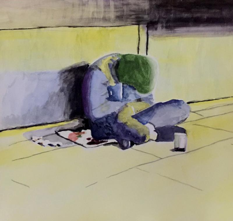 Painting of a person, hunched over, conveying the impression of weariness or cold. Person is seated cross-legged on a newspaper that is on a blanket on the sidewalk and has a jar or cup in front of them. The figure is wearing a hooded jacket and their head is bowed. You don't know their race, age, gender. The colors are soft and muted -yellow sidewalk, violet concrete wall. The colors' softness contrast with the feeling of cold and weariness given by the figure's posture.