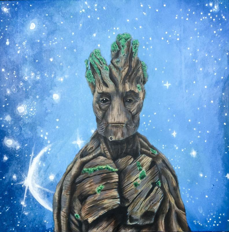 "Groot is a comic book character from Marvel  comics. I was excited to watch this comic book character turn into a blockbuster hit ""Guardians of the Galaxy.""  My favorite part of this painting is Groots eyes. Please enjoy"