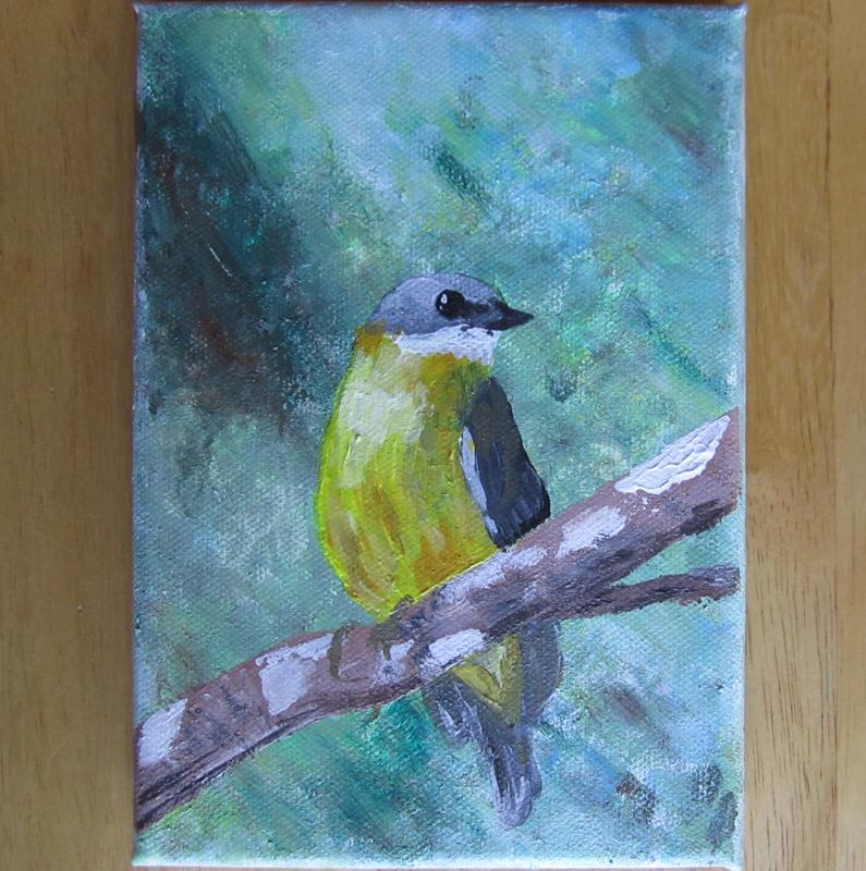 Painting of an Eastern Yellow Robin perched on a thin branch surrounded by the green of the tree