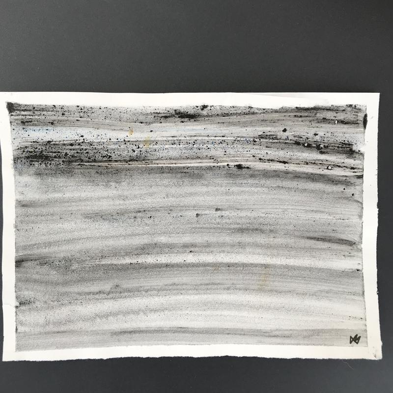 A painting of a rainy sky with broad black horizonal brush stroaks. 2