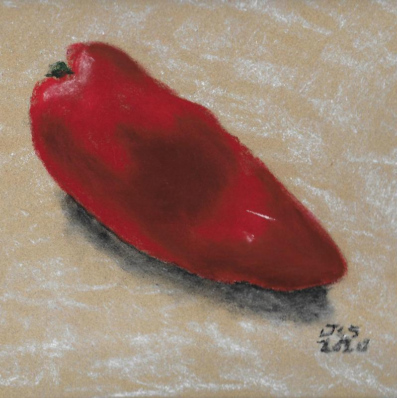 A pastel chalk on sanded paper of a ripe red pepper on a neutral background with a shadow.