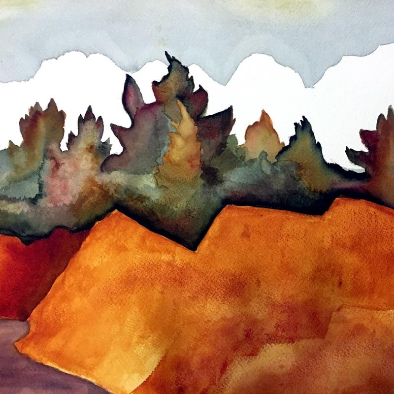 A watercolor image of Jay Cooke State Park with a reddish-orange cliffside with pine trees and a blue sky.