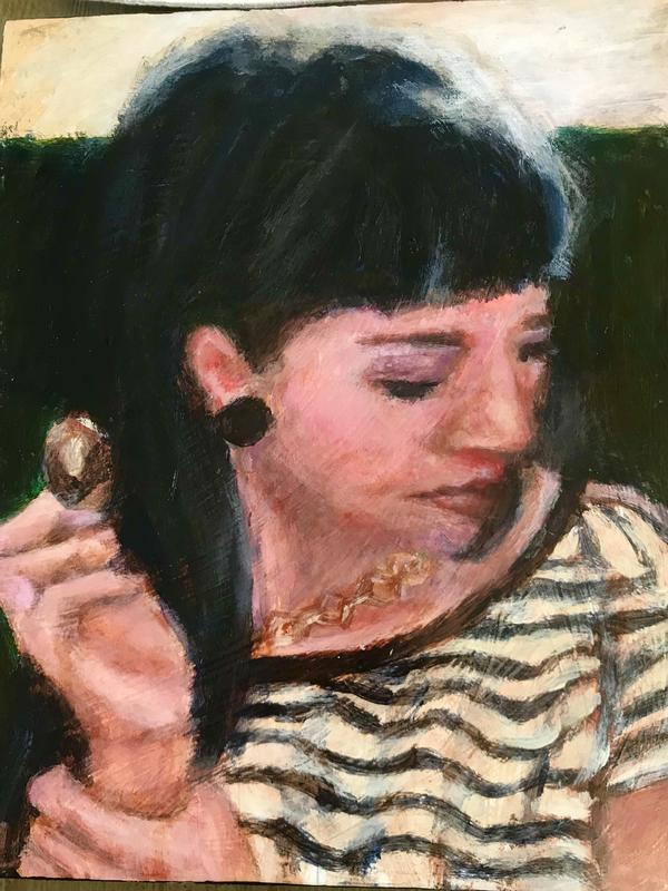 A painting of a young woman gazing downward, contemplating her next move with a spoon, with sunlight shining on the top of her head.