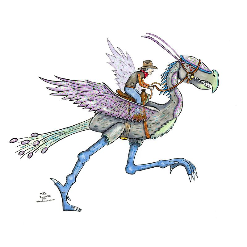 A drawing of a cowboy riding a colorful alien-dinosaur creature.