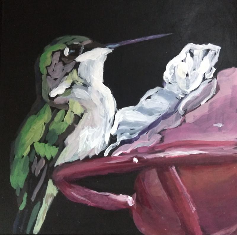 A painting of a hummingbird at a red hummingbird feeder.