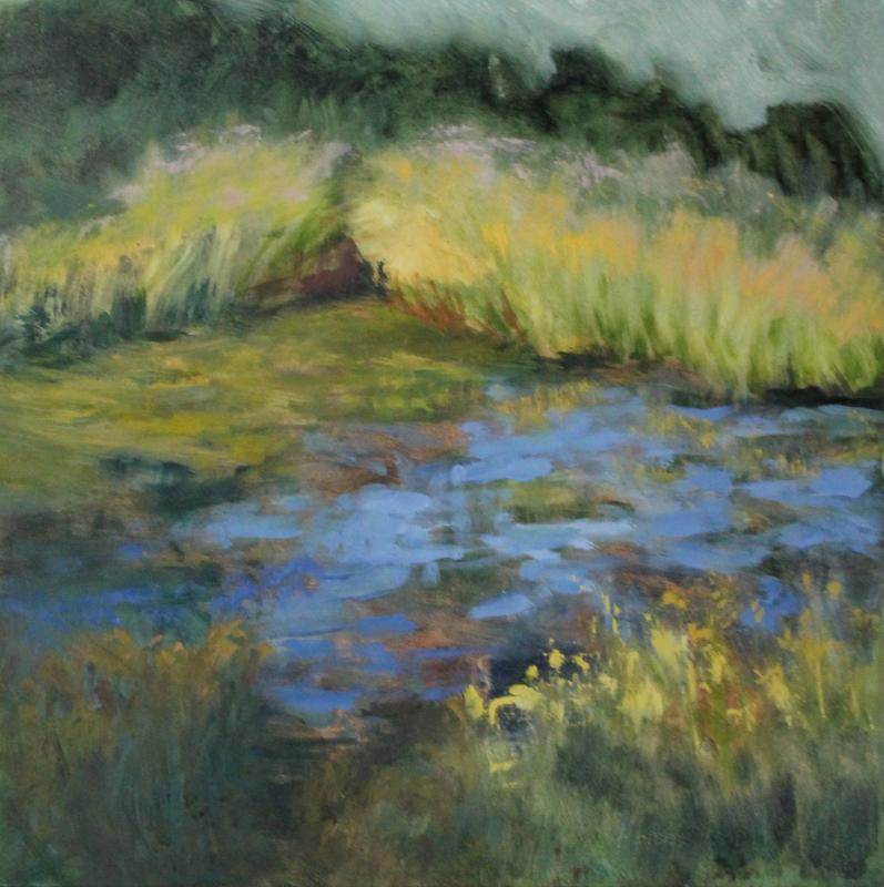 Impressionist landscape of a small pond reflecting a summer-blue sky, surrounded by greens, ochres and yellows in the rushes, reeds, cattails and wild flowers, and a hedge of darker greens disappearing into the background.