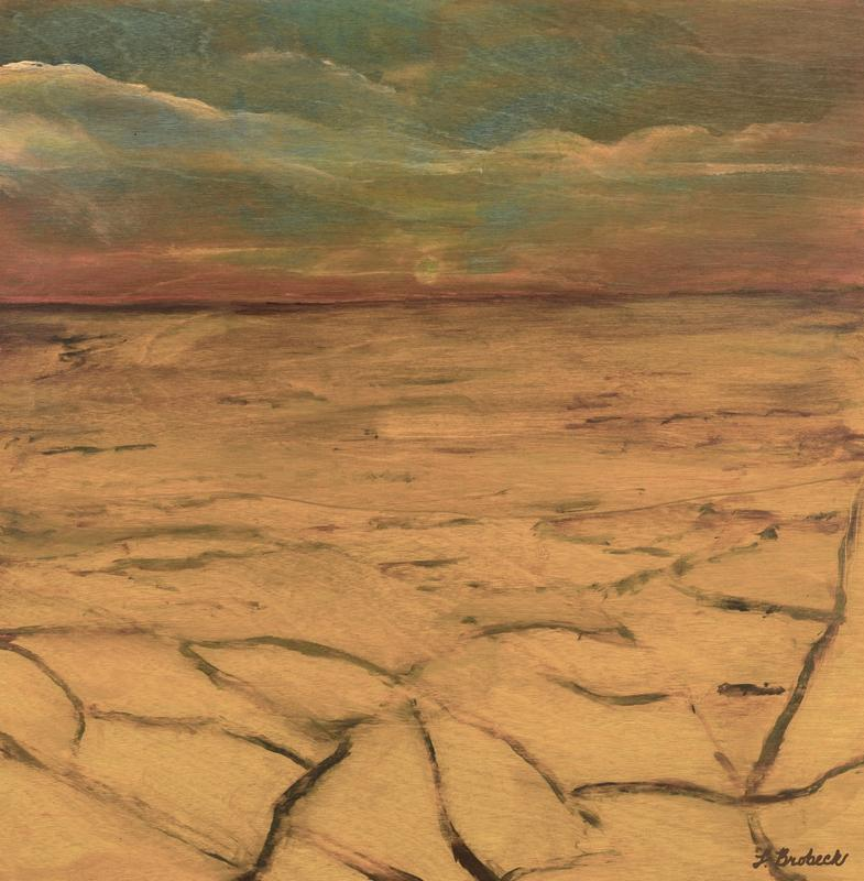 Cracked earth on a golden parched landscape with a setting sun along the horizon with swirling clouds above.