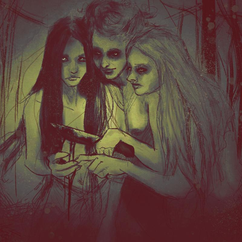 An illustration of three woman in a forest huddled around a ritual knife. It is starting to snow. One of the women is looking at the viewer as if they are witnessing something they should not. The woman have long wild hair and the knife is dark with something. The art style is sketchy and painterly, an eerie, hazy red-black and yellow-green.