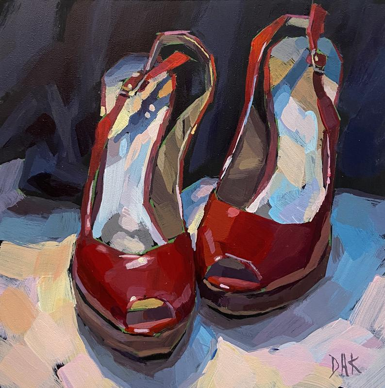 An acrylic painting of a bit worn red high heeled shoes waiting on the floor in front of a dark fabric background which could indicate a black formal gown.