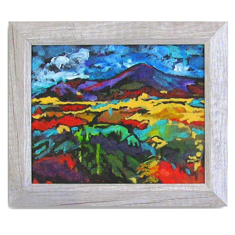 A painting of Ireland, with its holy mountain, Croagh Patrick, in the distance, in shades of purple. The foreground is a colorful mix of reds, greens, and yellow, with a bright blue sky with fluffy clouds.